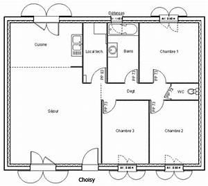 plan maison plain pied 80 m2 With plan maison 80m2 plein pied