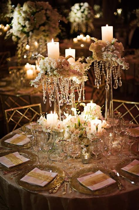 reception decor  tall crystal centerpieces