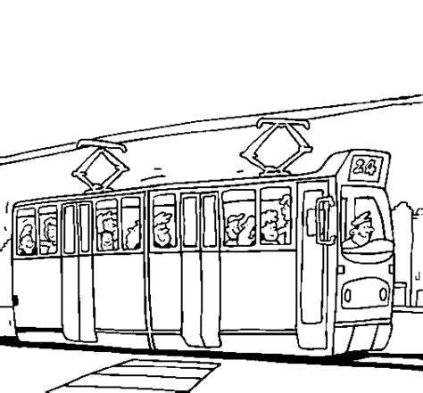 Tram Kleurplaat by Tram With Passengers Coloring Page Coloringcrew