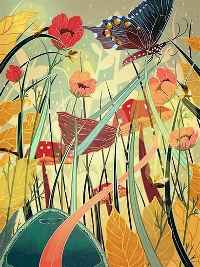 Thumbelina Kailey Illustration Whitman Brwnpaperbag Scenes Nature