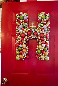 easy diy front door hanger ornaments attached to a With cheap letter ornaments