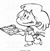 Baking Cookies Clipart Cartoon Coloring Outline Vector Bake Clip Woman Panda Clipartmag Leishman Ron sketch template