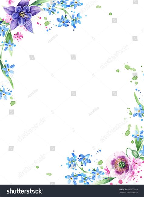colorful watercolor flower border painted floral stock