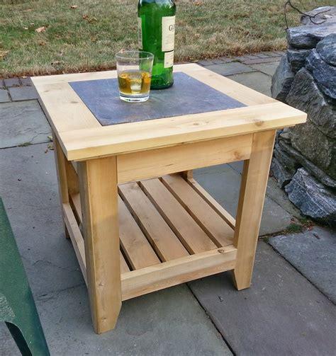 patio end tables handmade cedar patio side table with a tile inlay