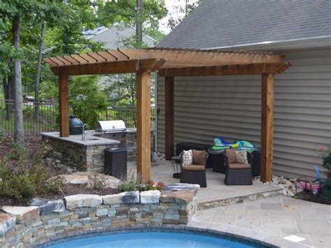 western red cedar pavilion fireplace outdoor kitchen