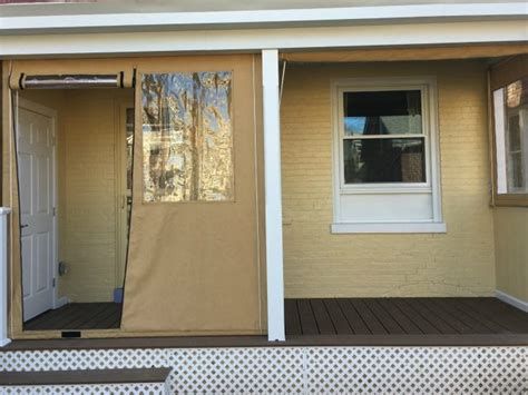 porch enclosure drop curtains with a zippered door