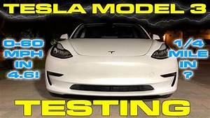 Tesla Model 3 does 0-60 MPH and 1/4 Mile VBOX Testing ...