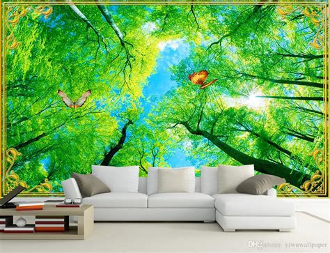 Beautiful Looking Blue Sky And White Clouds Forest Green Tree Scenery Mural 3d Wallpaper 3d Wall