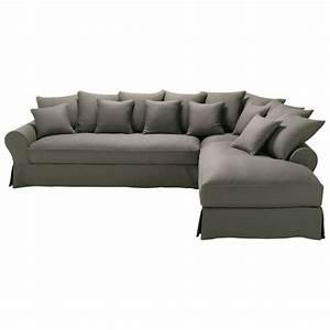 canape d39angle droit 6 places en lin taupe grise bastide With tapis exterieur avec scoop canapé d angle droit fixe 4 places