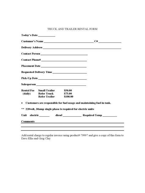 truck rental  lease form   templates