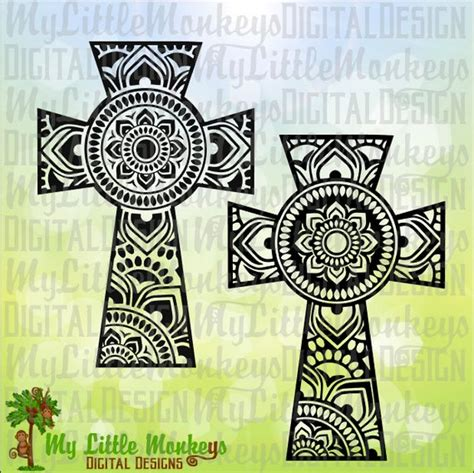 Join our facebook community where i share. Mandala Cross Design Digital Clipart and Cut File Instant
