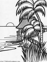Sunset Coloring Ocean Tropical sketch template