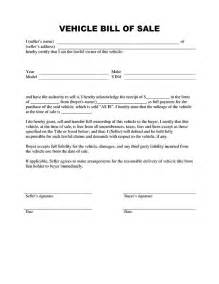 Sle Of A Bill Of Sale For An Automobile by Bill Of Sale Form Pdf