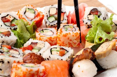japon cuisine traditional japanese food sushi closeup japanese sushi on