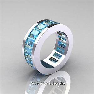 mens modern 14k white gold aquamarine channel cluster With mens aquamarine wedding ring