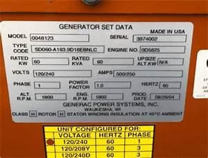 Used 60 Kw Generac Sd060 Diesel Generator Woodstock Power