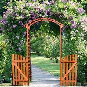 Parasol De Jardin : arco de madera de jard n para plantas o flores con puertas ~ Teatrodelosmanantiales.com Idées de Décoration