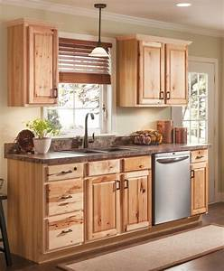 beautiful hickory cabinets for a natural looking kitchen With kitchen cabinets lowes with half moon metal wall art