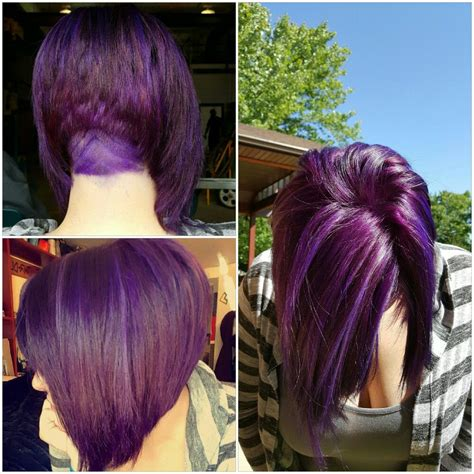 purple hair bob undercut hairdare hair  bold
