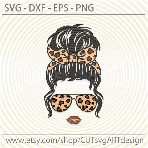 Brown leopard mint black beige hot pink. Messy Bun Leopard bandana glasses svg Beautiful girl lady ...