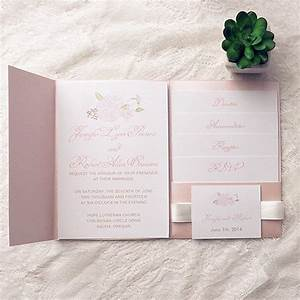 cheap spring pink flower pocket wedding invitation kits With wedding invitation pockets for cheap