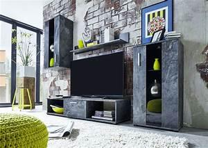 Wohnwand Grau Holz : wohnwand schiefer nachbildung klarglas schwarz siebdruck woody 93 00925 grau holz modern jetzt ~ Indierocktalk.com Haus und Dekorationen