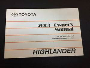 2003 Toyota Highlander Owner U0026 39 S Owners Manual Books Guide