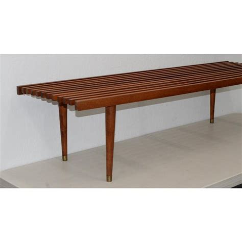 Two tone mid century modern coffee table with drawers: Mid Century Modern Wood Slat Coffee Table C.1960 | Chairish