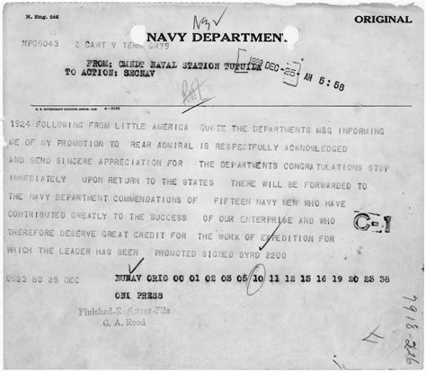 bureau promotion file telegram from rear admiral richard e byrd to the