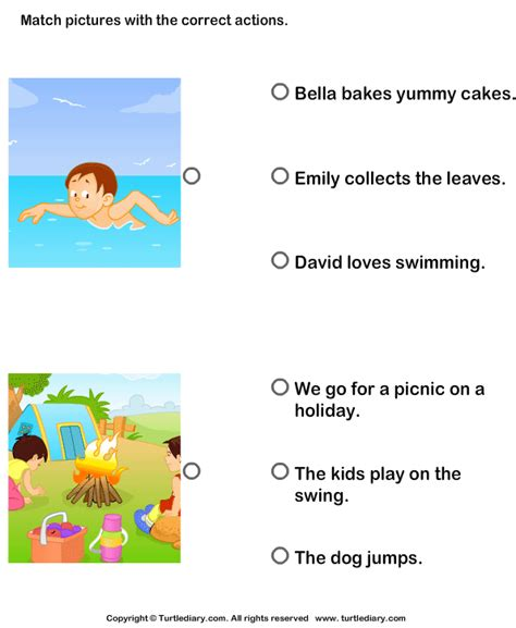 Describing Pictures Using Sentences With Correct Actions Worksheet  Turtle Diary