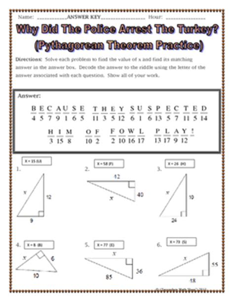triangles pythagorean theorem thanksgiving riddle