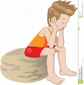 Thinking kid stock vector. Image of lonely, frustrated ...