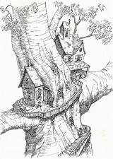Coloring Tree Treehouse Pages Colouring Magic Drawing Treehouses Adult Houses Printable Drawings Sketchbook Sheets Fantasy Fairy Dibujos Magical Imagination Para sketch template