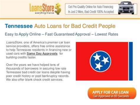 Bad Credit Auto Loans In Tennessee