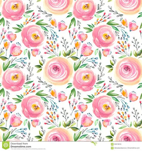 watercolor floral pattern  seamless background hand
