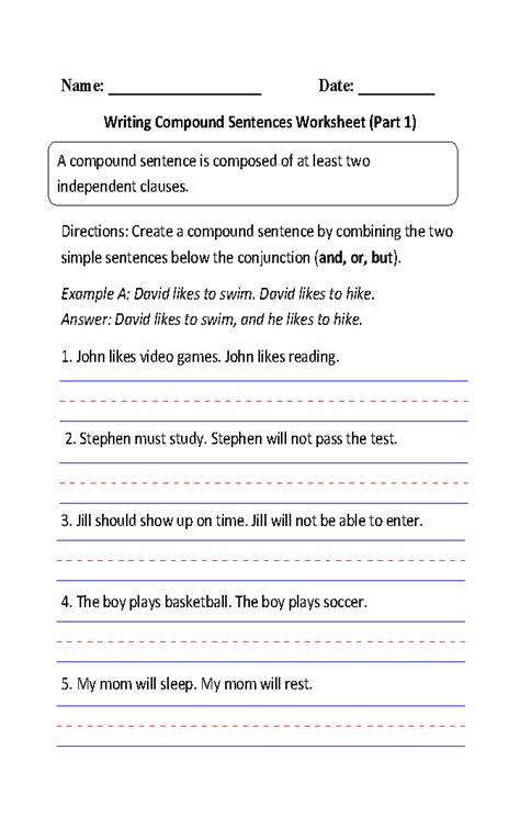 writing compound sentences worksheet part 1 4th grade