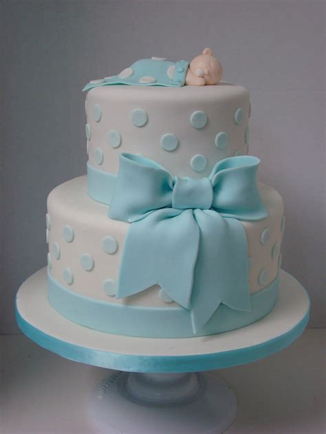 boy  tier cake  baby blue polka dots  bow