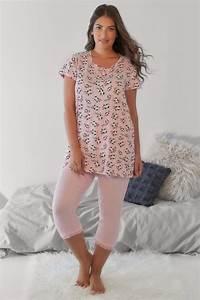 pink multi cow print t shirt cropped bottoms pyjama set p