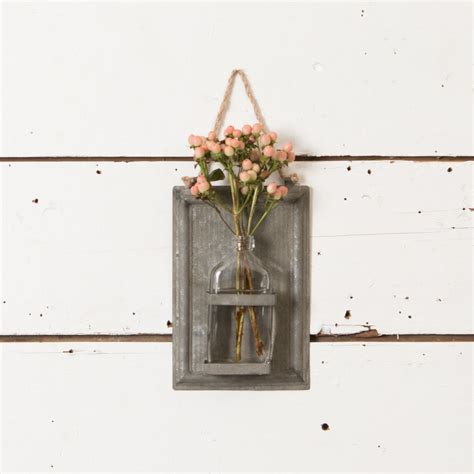Hanging Wall Vase - galvanized sheet metal vase magnolia chip joanna