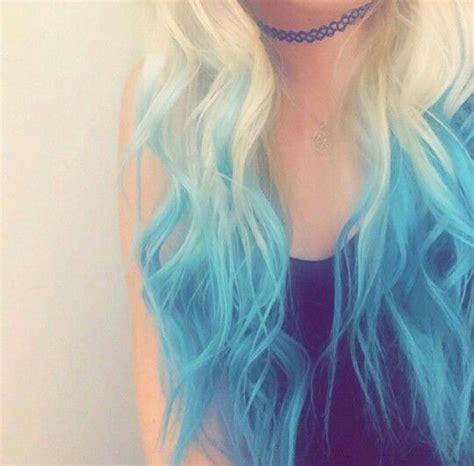 Blonde Hair With Vibrant Blue Dip Tips Hair Dyed Hair