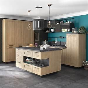 Ilot Central Cuisine : une cuisine avec un ilot central au style campagne leroy ~ Melissatoandfro.com Idées de Décoration