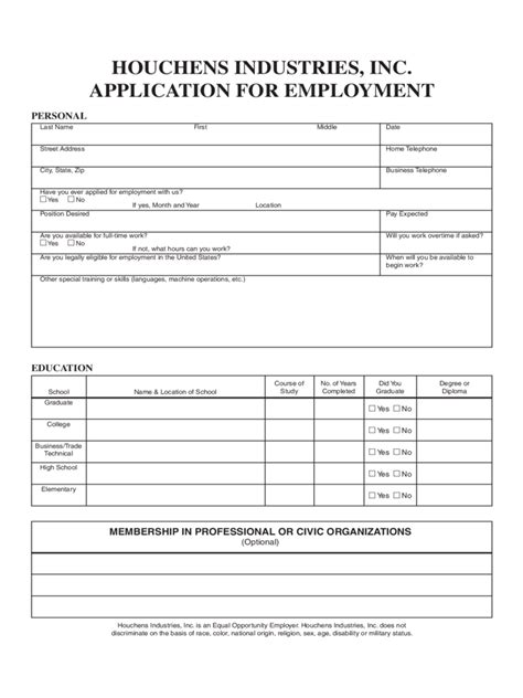 Houchens Industries Application for Employment Form - Edit ...