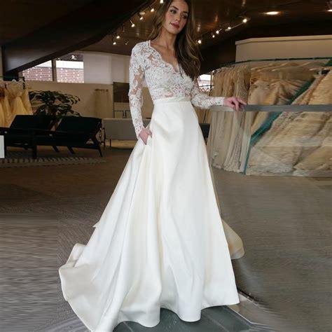 neck long sleeves sweep train satin wedding dress