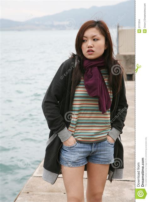asian girl standing stock images image