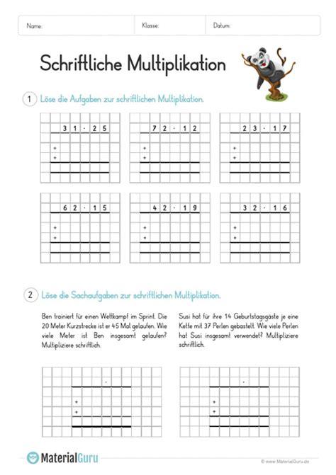 schriftliche multiplikation materialguru
