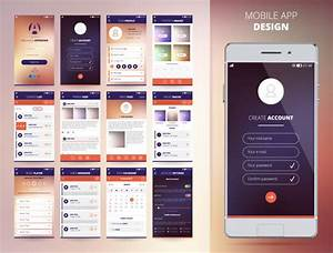 Smartphone Application Design Templates Set Flat Isolated
