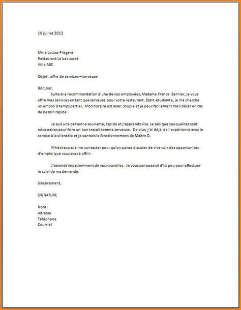 lettre de motivation chef de cuisine en restauration collective 8 lettre de motivation pour serveuse format lettre