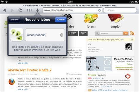 Ajouter Une Icône Pour Iphone/ipod Touch/ipad