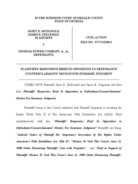 Notice Of Motion For Summary Judgment Example