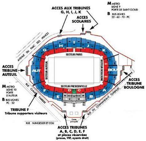 plan du parc des princes germain football club 1970 supporter